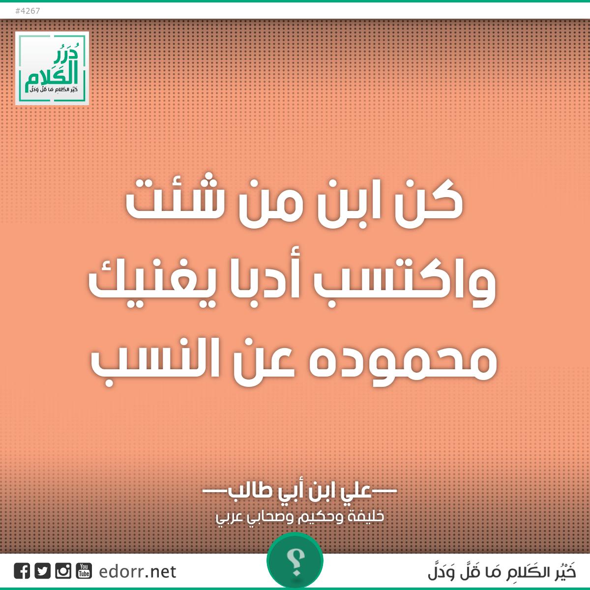 كن ابن من شئت واكتسب أدبا ... يغنيك محموده عن النسب