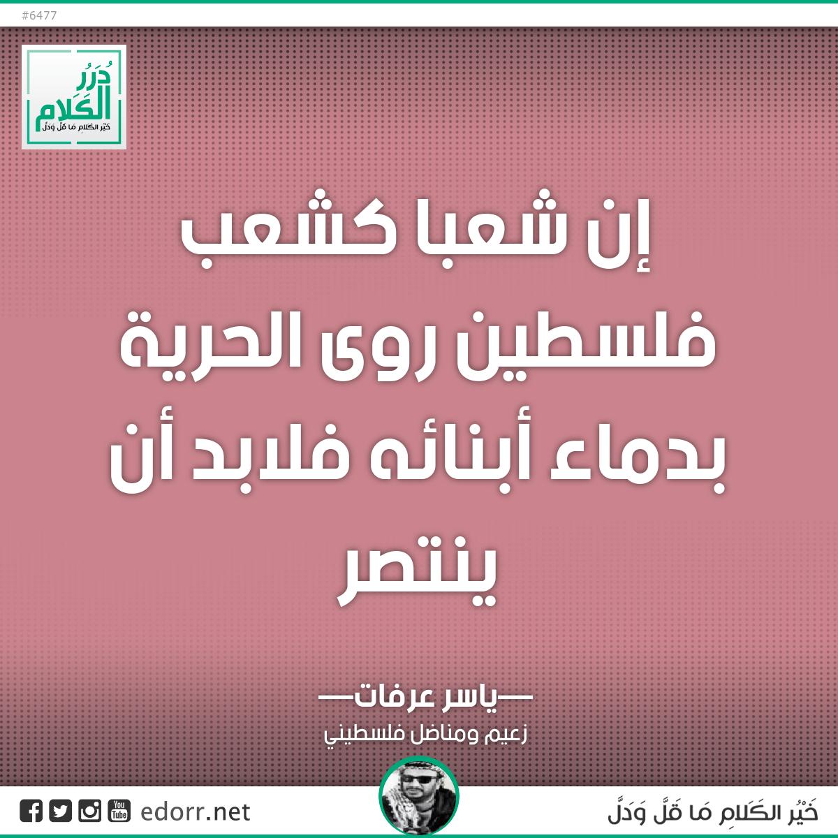 إن شعبا كشعب فلسطين روى الحرية بدماء أبنائه فلابد أن ينتصر.